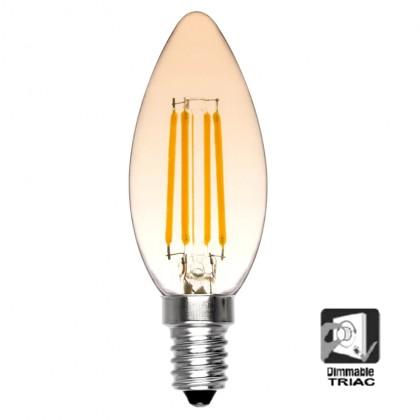 Bombilla LED Vela 4W filamento REGULABLE E14