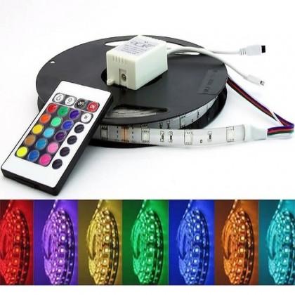 Pack Fita de LED 14.4W RGB + Fonte de alimentaĂ§Ă£o + Controlador