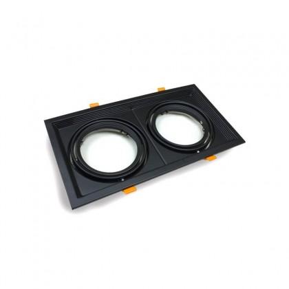 Aro Preto Downlight Quadrado Basculante paraLED AR111 x2