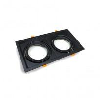 Aro Preto Downlight Quadrado Basculante paraLED AR111 x2 - Iluminación LED