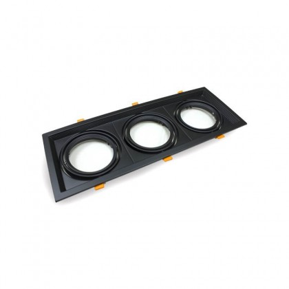 Aro Preto Downlight Quadrado Basculante paraLED AR111 x3