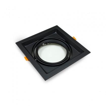 Aro Preto Downlight Quadrado Basculante paraLED AR111