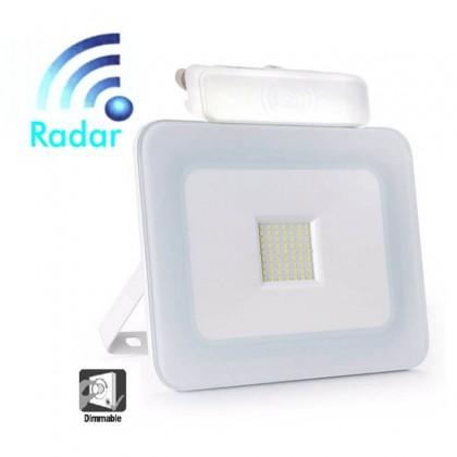 Foco Proyector Exterior 30W LED Luxury RADAR Blanco Area-led