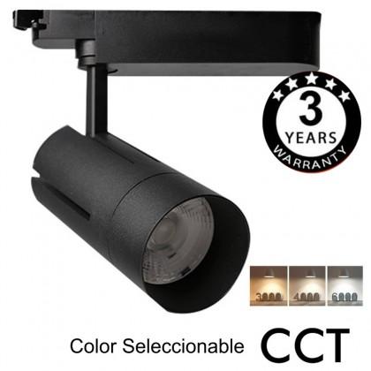 Foco LED 30W VIENA Negro para Carril Monofásico 24º CRI +85 CCT Area-led