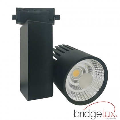 Foco LED 40W GRAZ Negro BRIDGELUX Chip Carril Monofásico CRI +90 Area-led