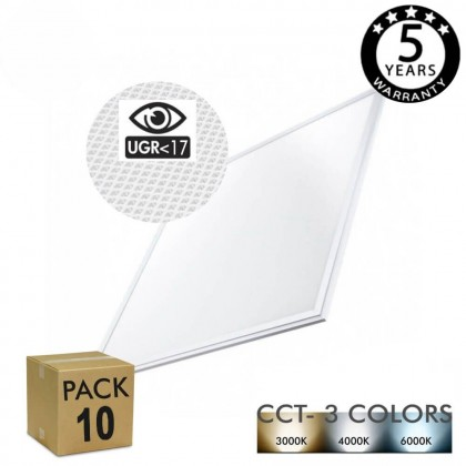 PACK 10 Panel LED 60x60 cm 40W UGR17 - Marco Blanco - CCT - PACKPRO 10 UND Area-led