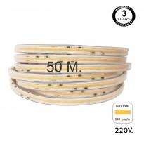 Bobina 50m. Tira LED COB Regulable 230V AC - 520LED/m - 15W - IP65 Area-led - Tiras Led Y Neón Led