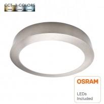 Plafón LED 15W - Circular Acero Inox - CCT - OSRAM CHIP DURIS E 2835 Area-led