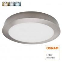 Plafón LED 20W - Circular Acero Inox - CCT - OSRAM CHIP DURIS E 2835 Area-led