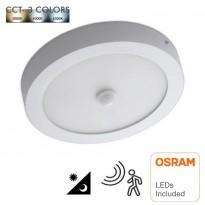 Plafón LED Superficie circular 20W Detector de Movimiento - CCT - OSRAM CHIP DURIS E 2835 Area-led