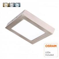 Plafón LED 15W - Cuadrado Acero Inox - CCT - OSRAM CHIP DURIS E 2835 Area-led