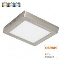 Plafón LED 20W - Cuadrado Acero Inox - CCT - OSRAM CHIP DURIS E 2835 Area-led