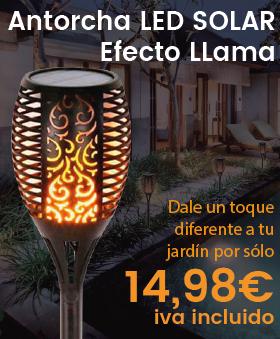 Antorcha LED Solar con Luz efecto Llama con Pica