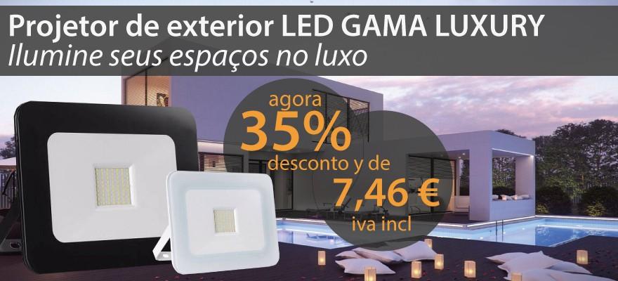 descuento del 35% en todos los focos proyectores de exterior la gama luxury